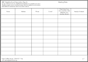 Meeting Sign-In Sheet Example - Southeast Uplift